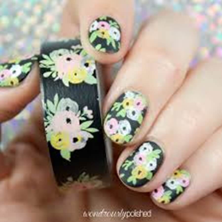washi tape nails art