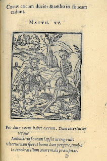 Woodcut image of an elderly man being lead off by a skeletal image of Death. The man is not putting up any fight but appears resigned to his fate.