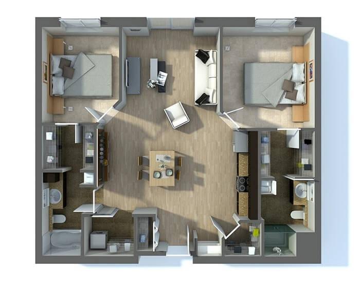 2+1 3 boyutlu ev planları