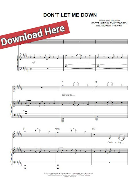the chainsmokers, don't let me down, sheet music, piano notes, chords, keyboard, guitar, klavier noten, voice, vocals, download, pdf, daya