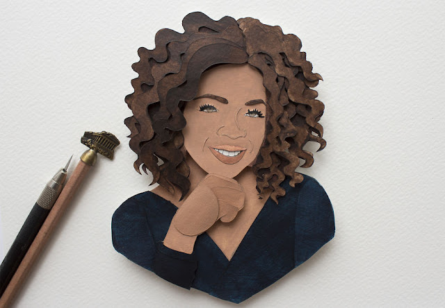 paper cut portrait of some public figure