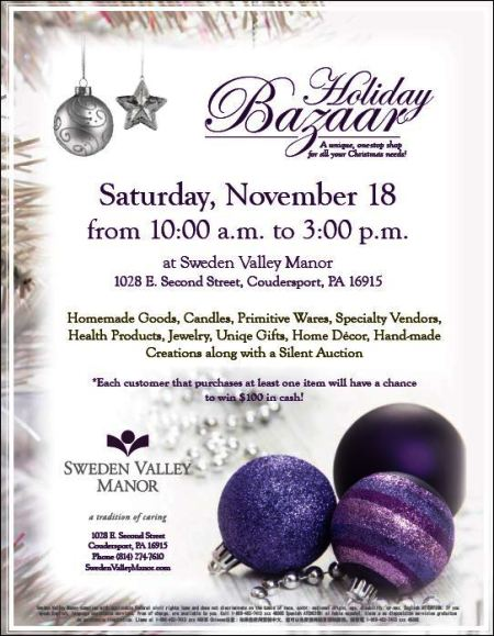 11-18 Holiday Bazaar, Sweden Valley Manor