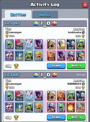 [Game] 2 Deck Battle (Kombinasi kartu) Clash Royale Arena 2-4 Terbaik