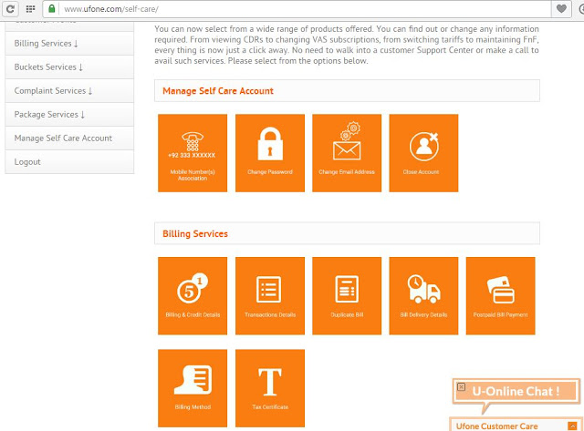 Preview of ufone self care account