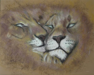 oil pastel drawing of sleepy lions by artist Liz McDevitt