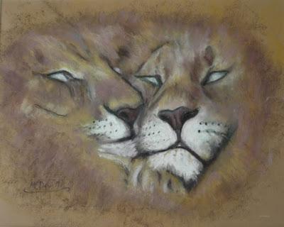 oil pastel drawing of sleepy lions by artist Liz McDevitt
