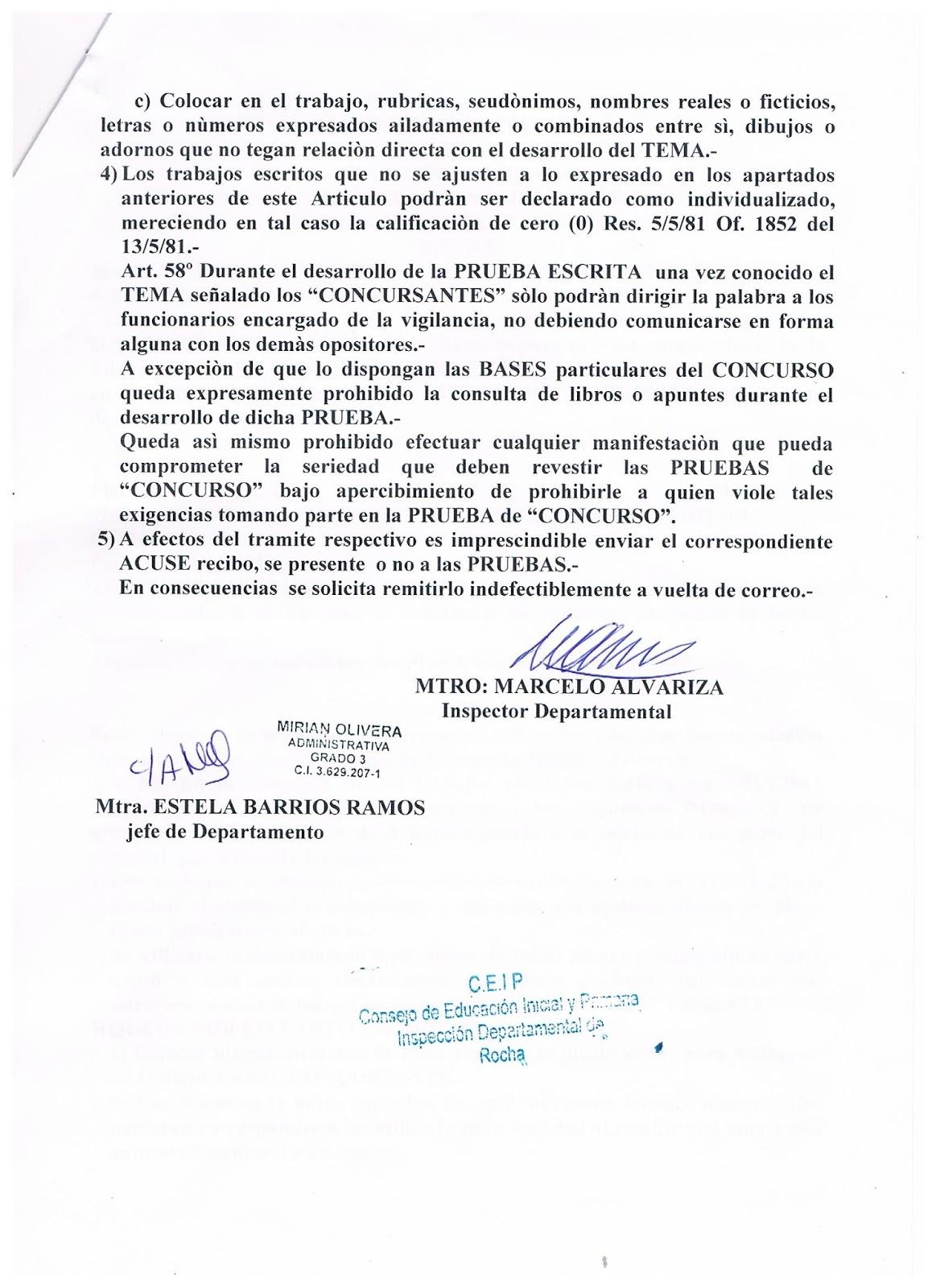 Inspecci n departamental de rocha concurso maestros de ed for Concurso para maestros