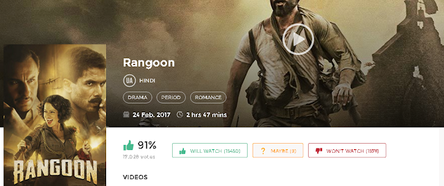 Rangoon (2017) Full Hindi Movie in HD 720p avi mp4 3gp hq free
