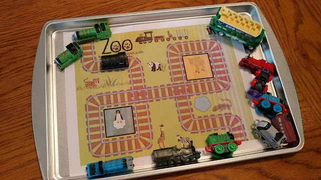Printed scene with toy trains