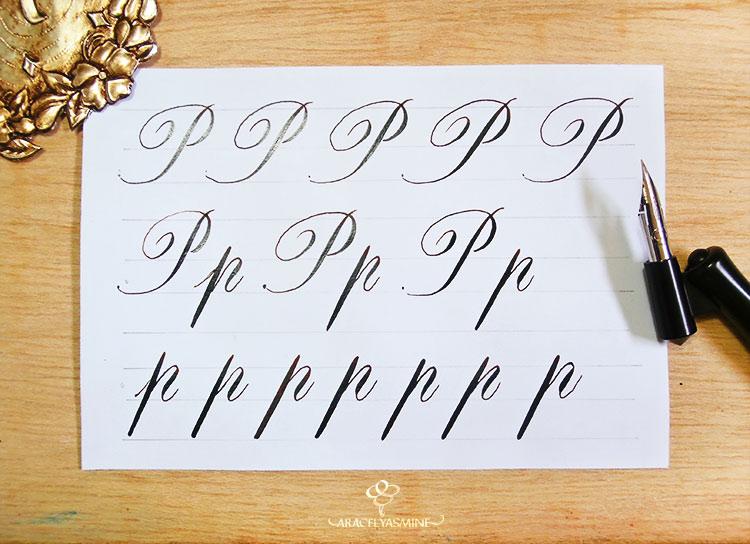 """Caligrafía copperplate, ¿cómo escribir la letra """"P""""?"""
