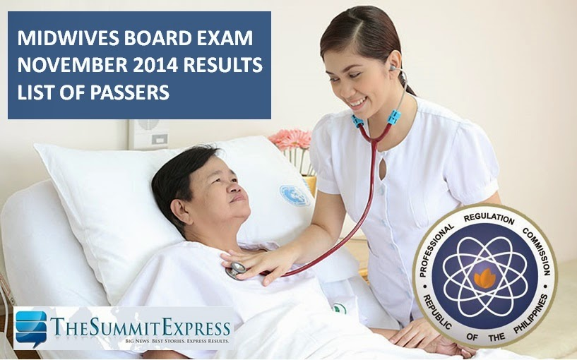 Midwifery board exam results November 2014