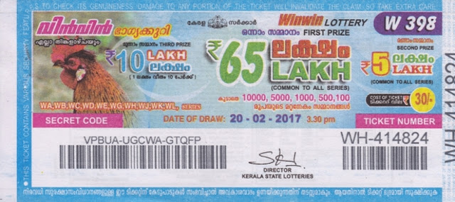 Kerala lottery result official copy of Win Win-W-209