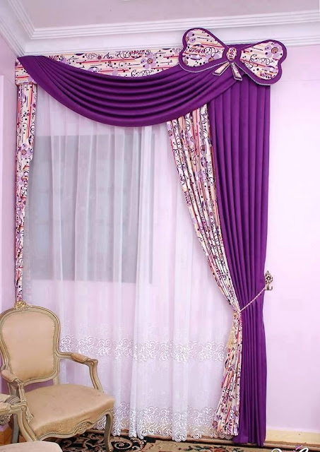 purple modern curtain designs for living room