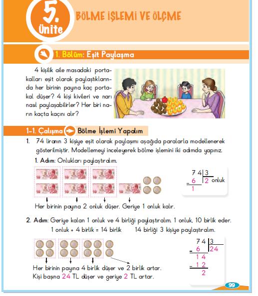 3. Sınıf Berkay Yayınları Matematik Çalışma Kitabı 99. Sayfa Cevapları 1.1 Çalışma Bölme İşlemi Yapalım