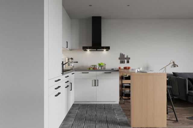 decorar un apartamento low cost con estilo, salón y cocina con barra