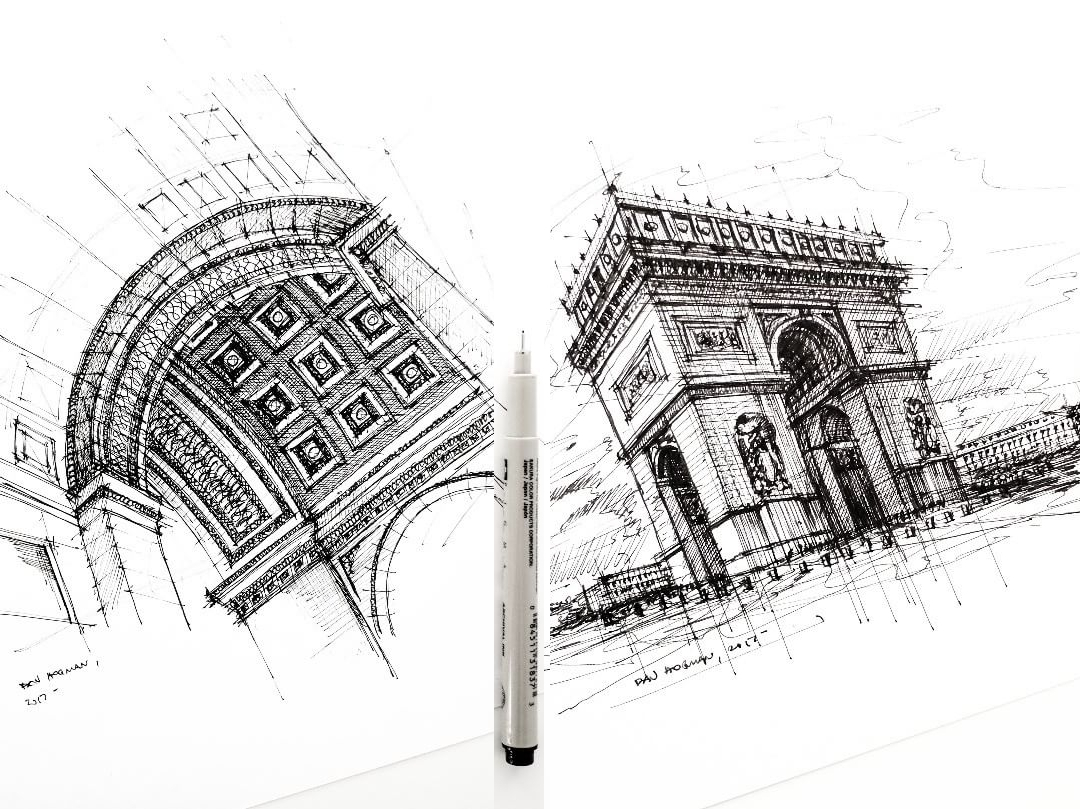 05-Arc-de-Triomphe-Dan-Hogman-Urban-Sketches-of-Paris-in-France-www-designstack-co