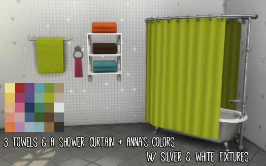 My Sims 4 Blog Shower Curtain And Towel Recolors By Pixelfolk