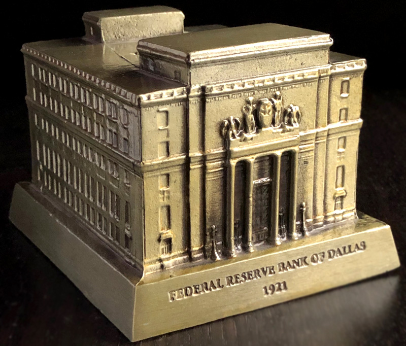 Federal Reserve Bank In Dallas Banthrico Coin Bank Souvenir Building