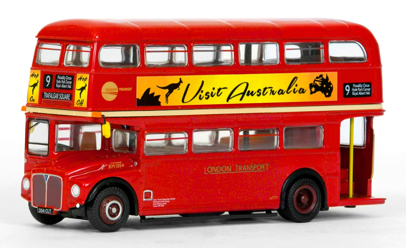 EFE 31513 - AEC Routemaster - London Transport Tower Transit Our model depicts RM 1204, registered 204 CLT working on route 9 to trafalgar Square, and displaying Visit Australia advertising all round.