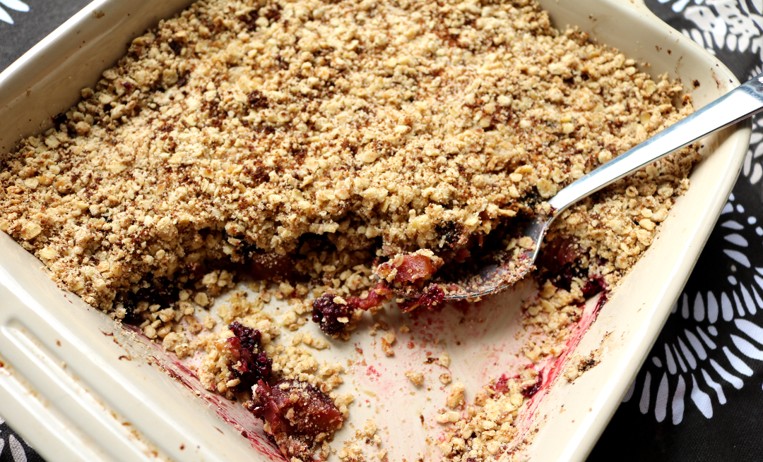 Apple, Blackberry & Rhubarb Crumble