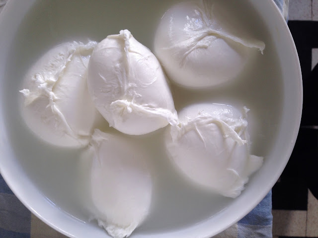 mozzarella di bufala cut by hand