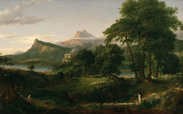 """The course of  Empire, the Arcadian or Pastoral State""  Thomas Cole"