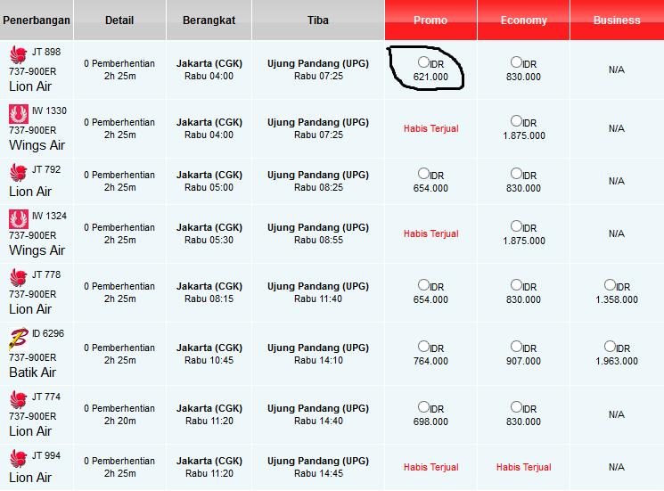 Daftar Harga Tiket Pesawat Lion Air Daftar Harga Tiket