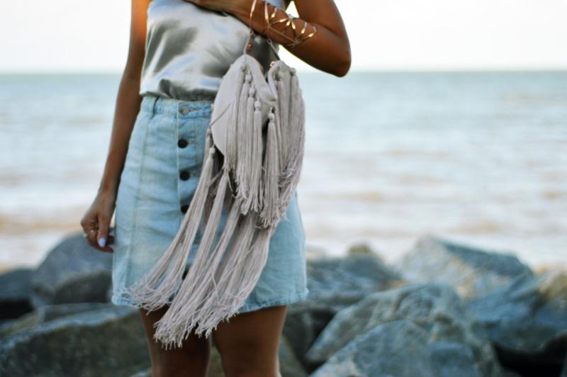 beautiful fringed boho nude bag