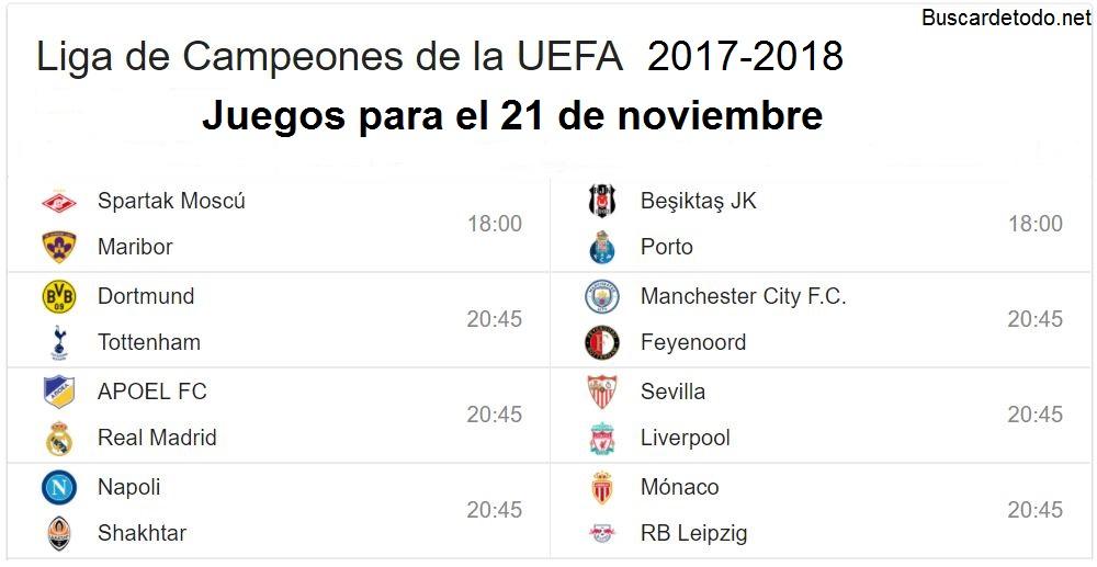 9- Calendario de juegos de la Champions League 2017-2018. Juegos de la Champions League el 21 de noviembre 2017