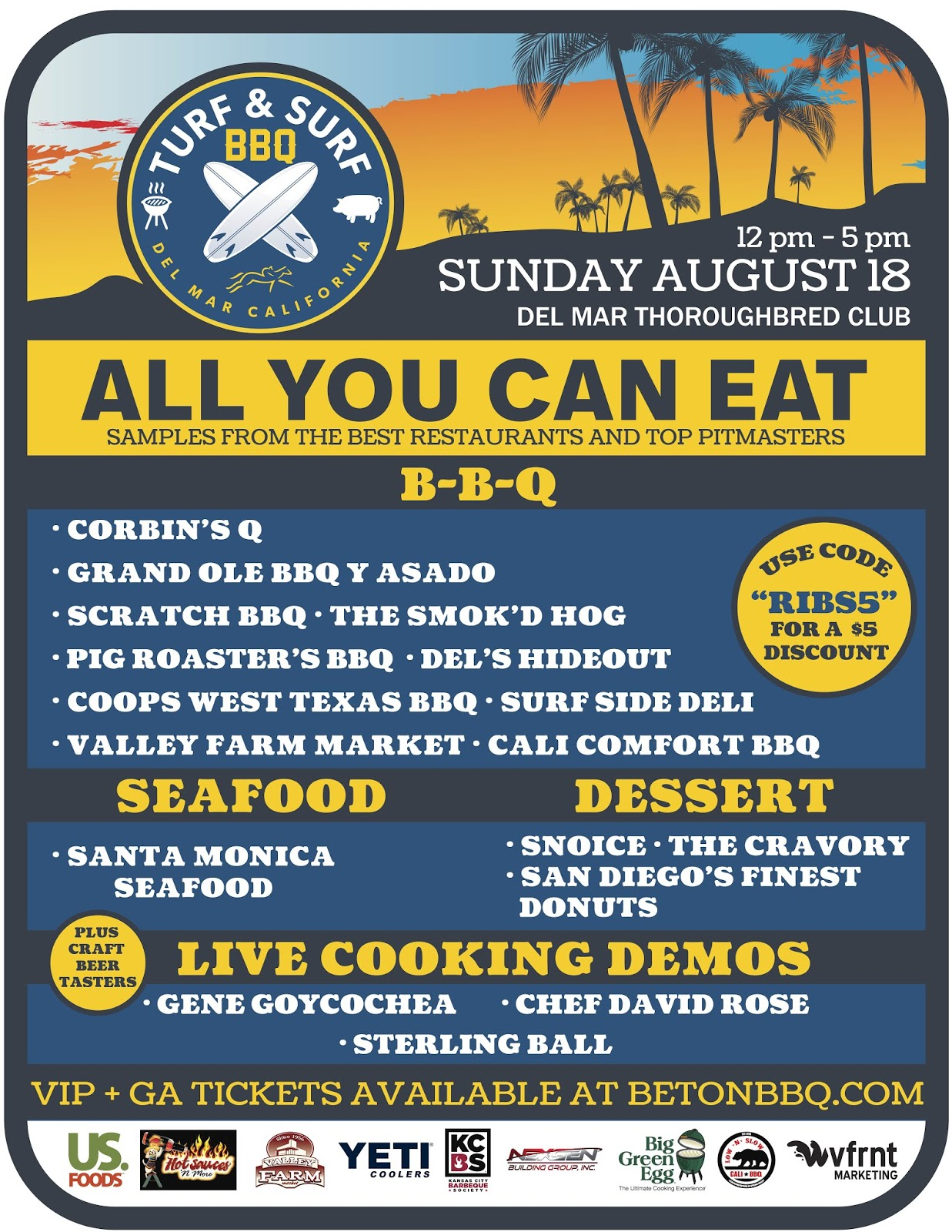 Turf & Surf BBQ Championship Returns To Del Mar Racetrack on Sunday, August 18!
