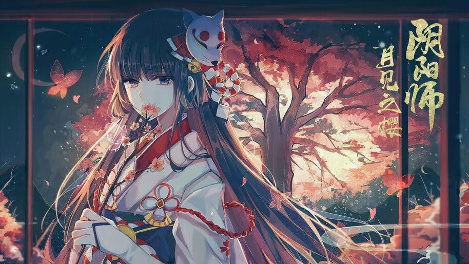 Anime, Girl, Kimono, Mask, 4K, #4.2420
