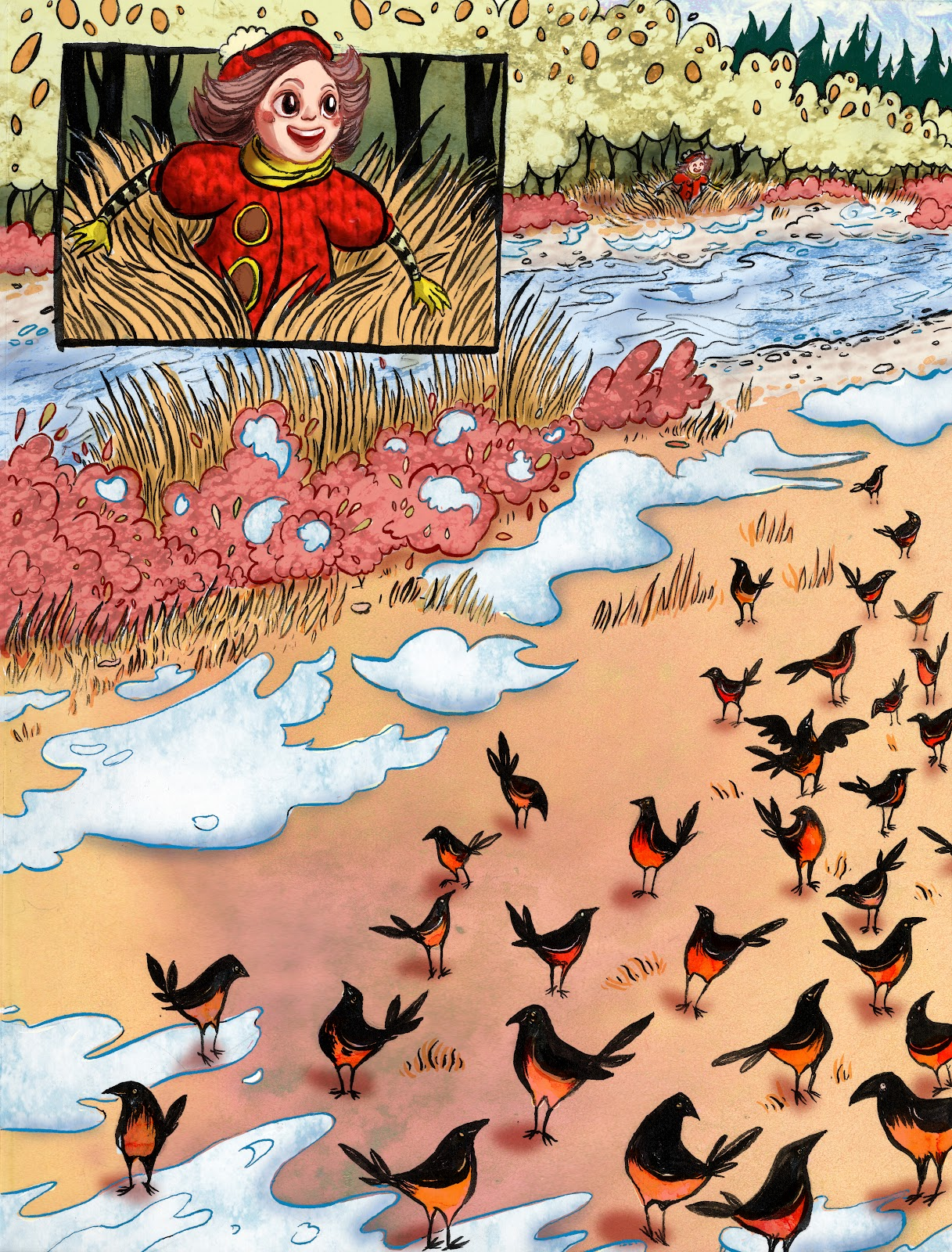 part of a double page spread, Look at All Those Birds!. RobinAnnWren.2012