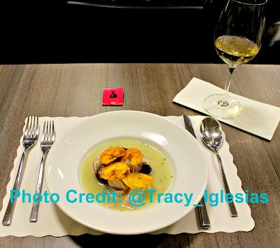 Fluke Ceviche, Dashi, Banana, Aji Dulce paired with a glass of Finca La Emperatriz Viura Cepas Viejas 2012 (RIOJA) White Wine, Chef Erik Ramirez, Llama Inn NYC, De Gustibus Cooking School, Macys