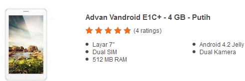 Harga Tablet Advan Vandroid E1C