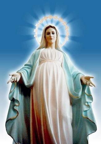Imagen de la Virgen María extendiendo los brazos