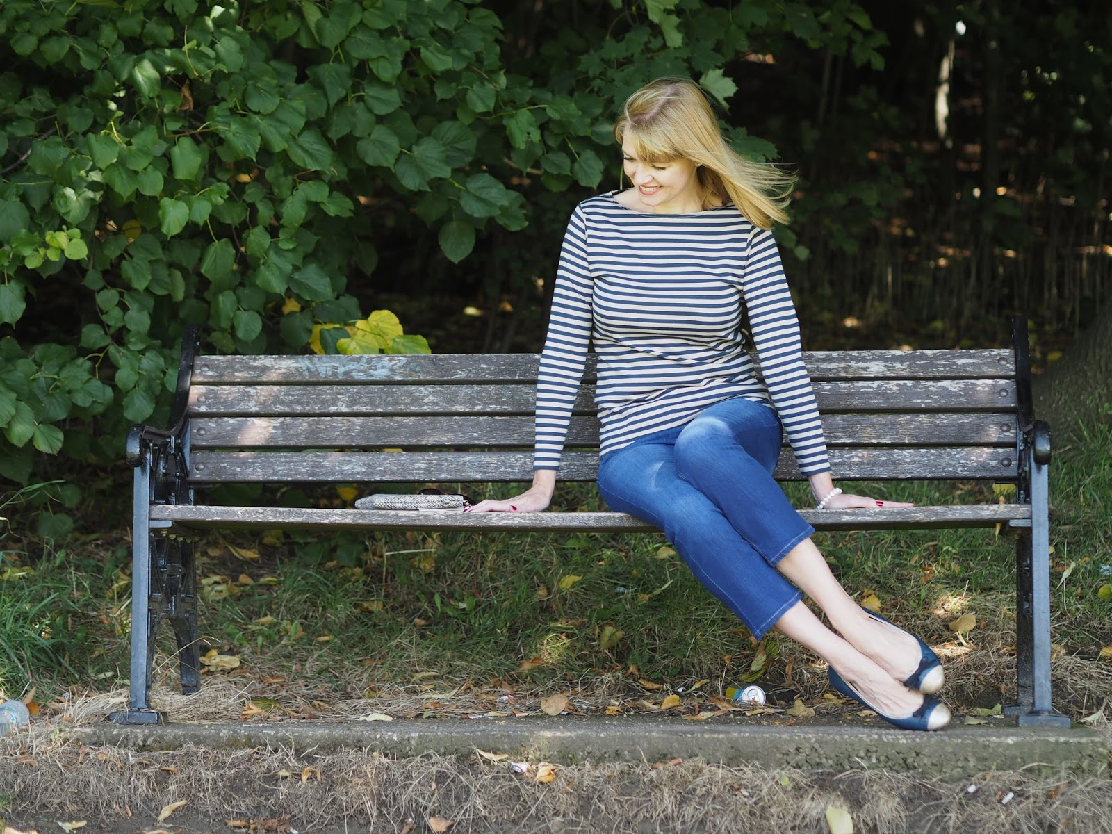 Tulchan striped top, cropped jeans and Taylor Blake navy ballerina shoes