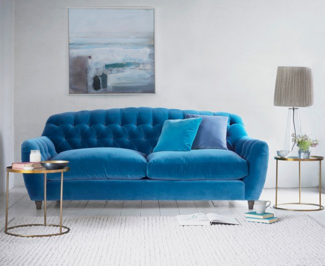 Grey Sofa Living Room And Blue Yellow Flowers Ideas