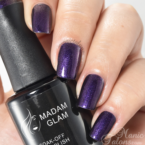Madam Glam Gel Polish Glittery Purple Swatch