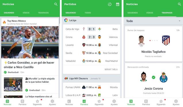Aplicaciones para ver resultados deportivos en Android