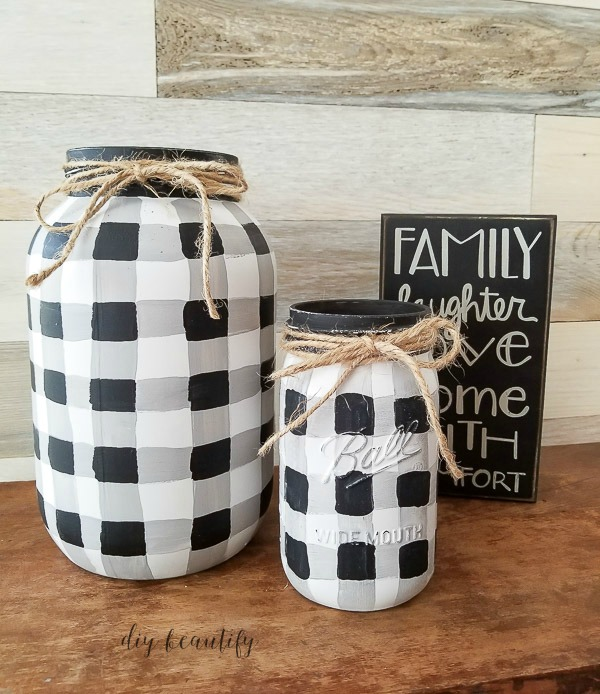 buffalo plaid mason jars painted by hand
