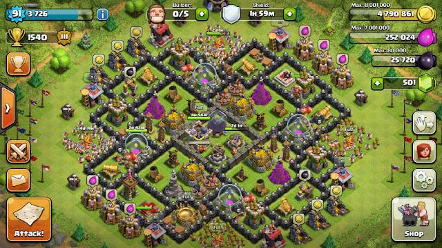 Kumpulan Formasi Base Terbaik Town Hall 9 Clash of Clans