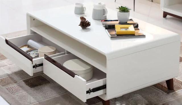 Bàn sofa có 2 ngăn keo tiện dùng để lưu trữđồ dùng cần thiết
