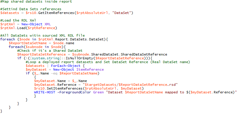 Powershell for SSRS in SharePoint: Multiple data sources and
