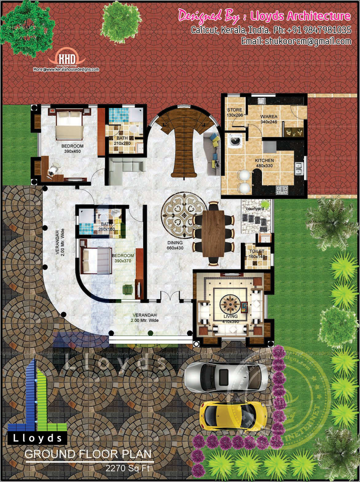 5 bedroom luxurious bungalow floor plan and 3d view for Kerala 3d home floor plans