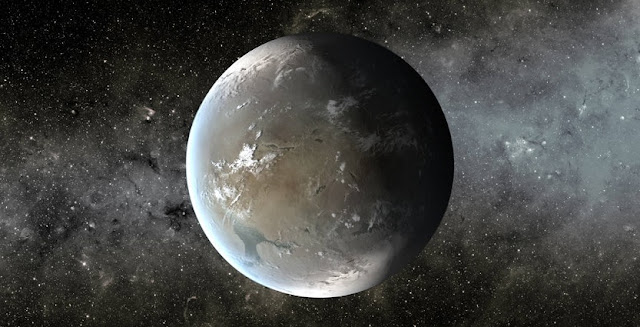 The artist's concept depicts Kepler-62f, a super-Earth-size planet in the habitable zone of a star smaller and cooler than the sun, located about 1,200 light-years from Earth in the constellation Lyra. Image credit: NASA Ames/JPL-Caltech/T. Pyle
