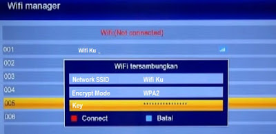 Menu Wifi Manager pada receiver parabola