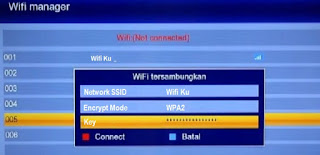 Menu Wifi Manager Receiver dvb