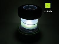 2. Stufe im Dunkeln: OUTAD 2-in-1 Outdoor Wireless Bluetooth Lautsprecher & LED Lampe mit eingebautem Mikrofon, einstellbarem Licht und Broadcom 3.0