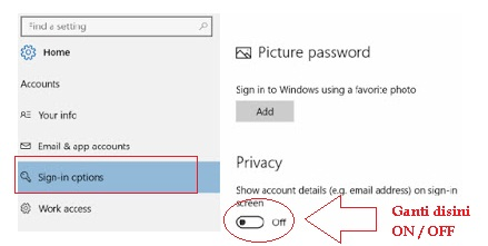 Cara Sembunyikan Email Address di Windows 10