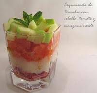 Esqueixada de bacalao con cebolla, tomate y manzana verde